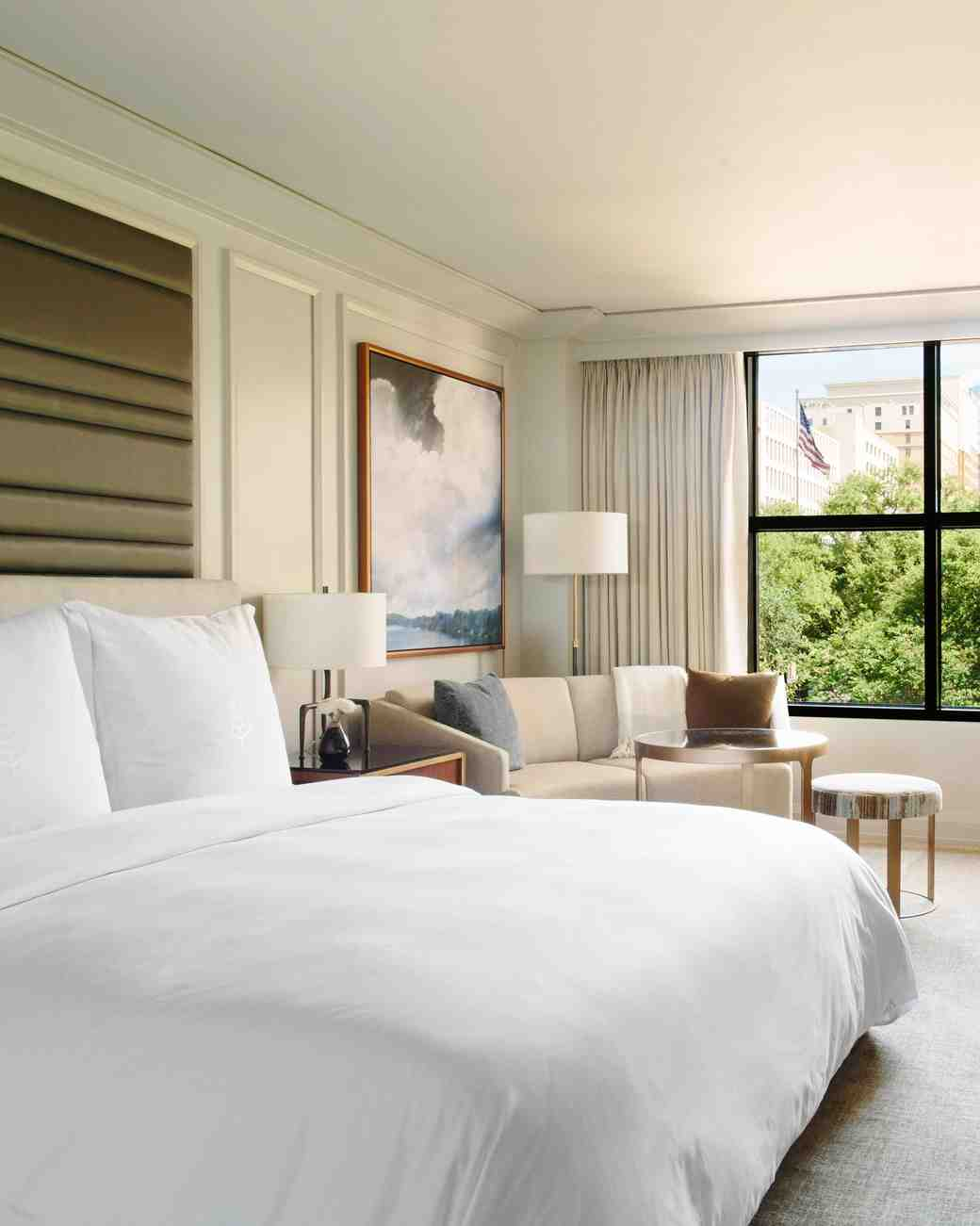 hotel room bed desk