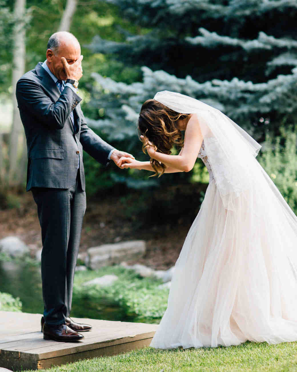 father daughter moment wedding outside emotional surprise