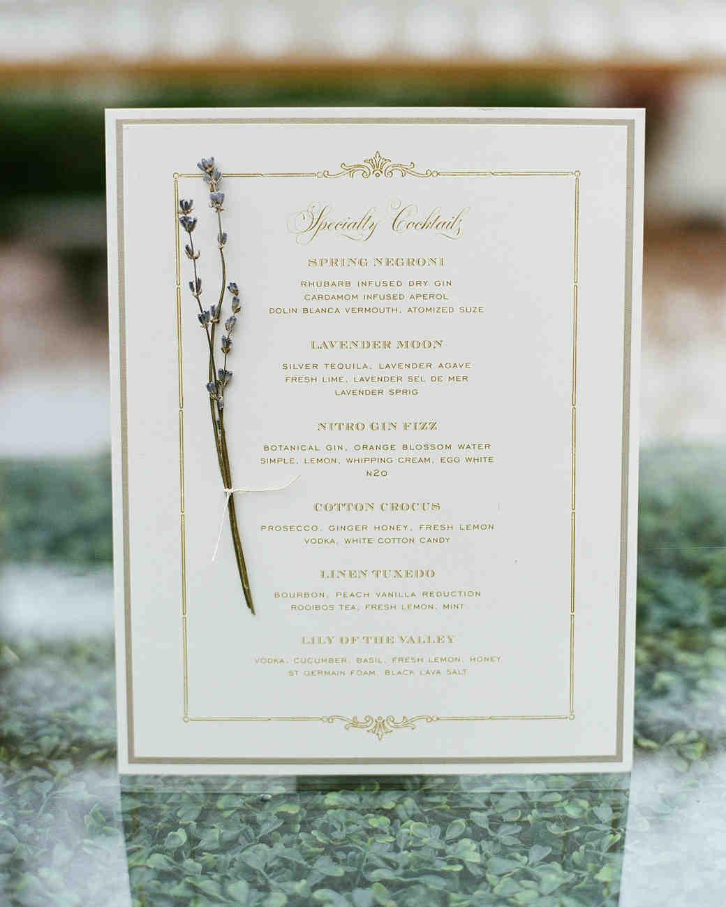 haylie brad wedding cocktail menu