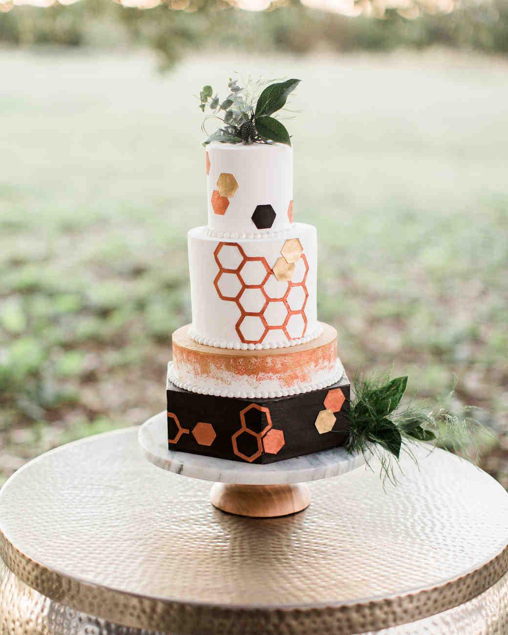 Honeycomb Wedding Inspiration, Wedding Cake with Honeycomb Foil Details