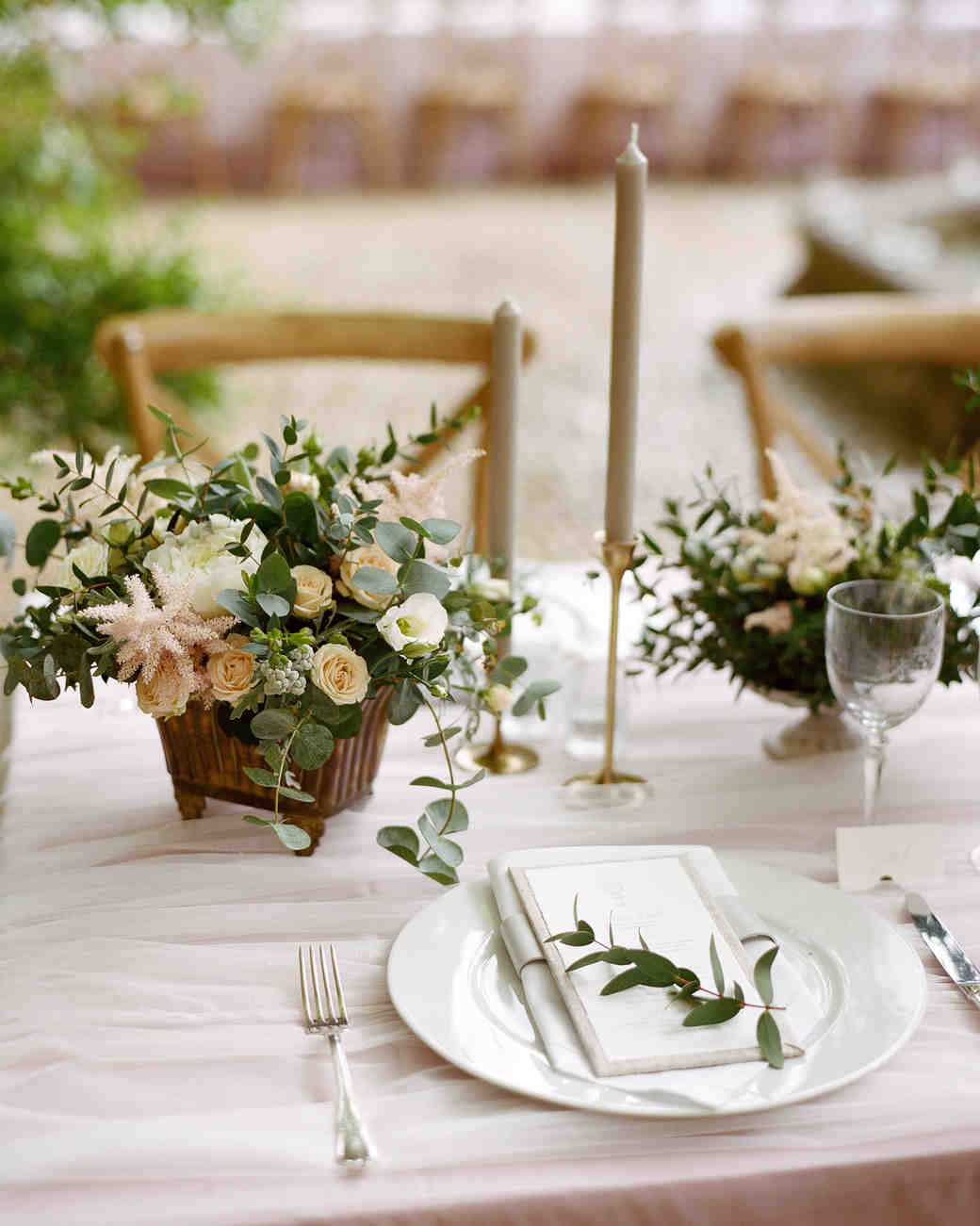 Blush and Green Centerpiece with Tall Gray Candle