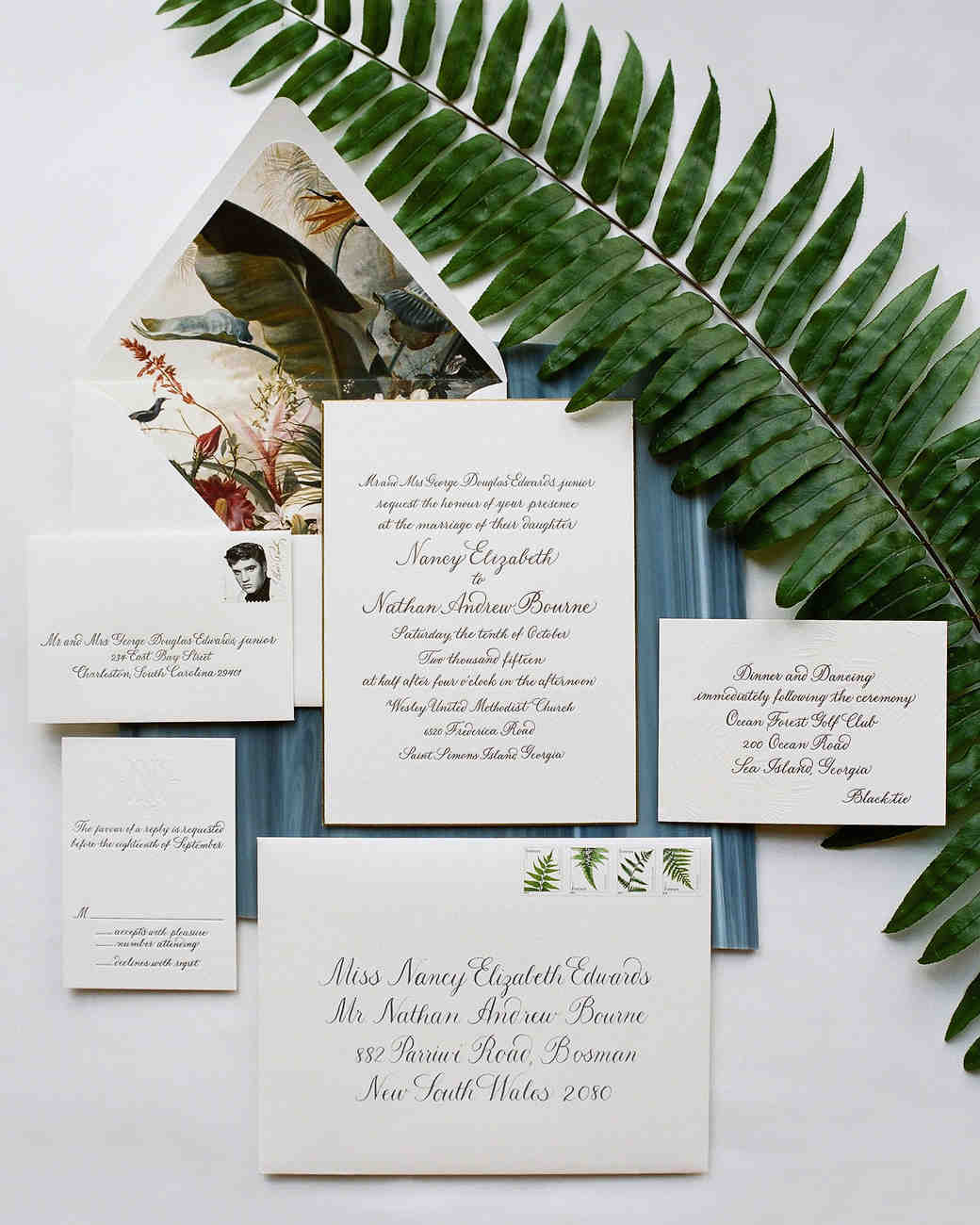Rhode Island Wedding Invitation Printed: A Classic, Nature-Inspired Wedding In Sea Island