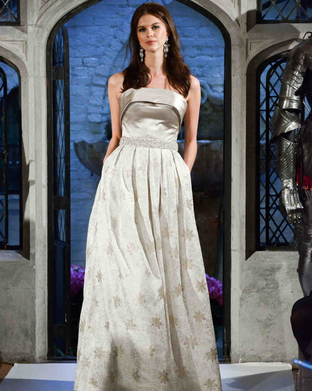 oleg cassini floral strapless wedding dress spring 2018
