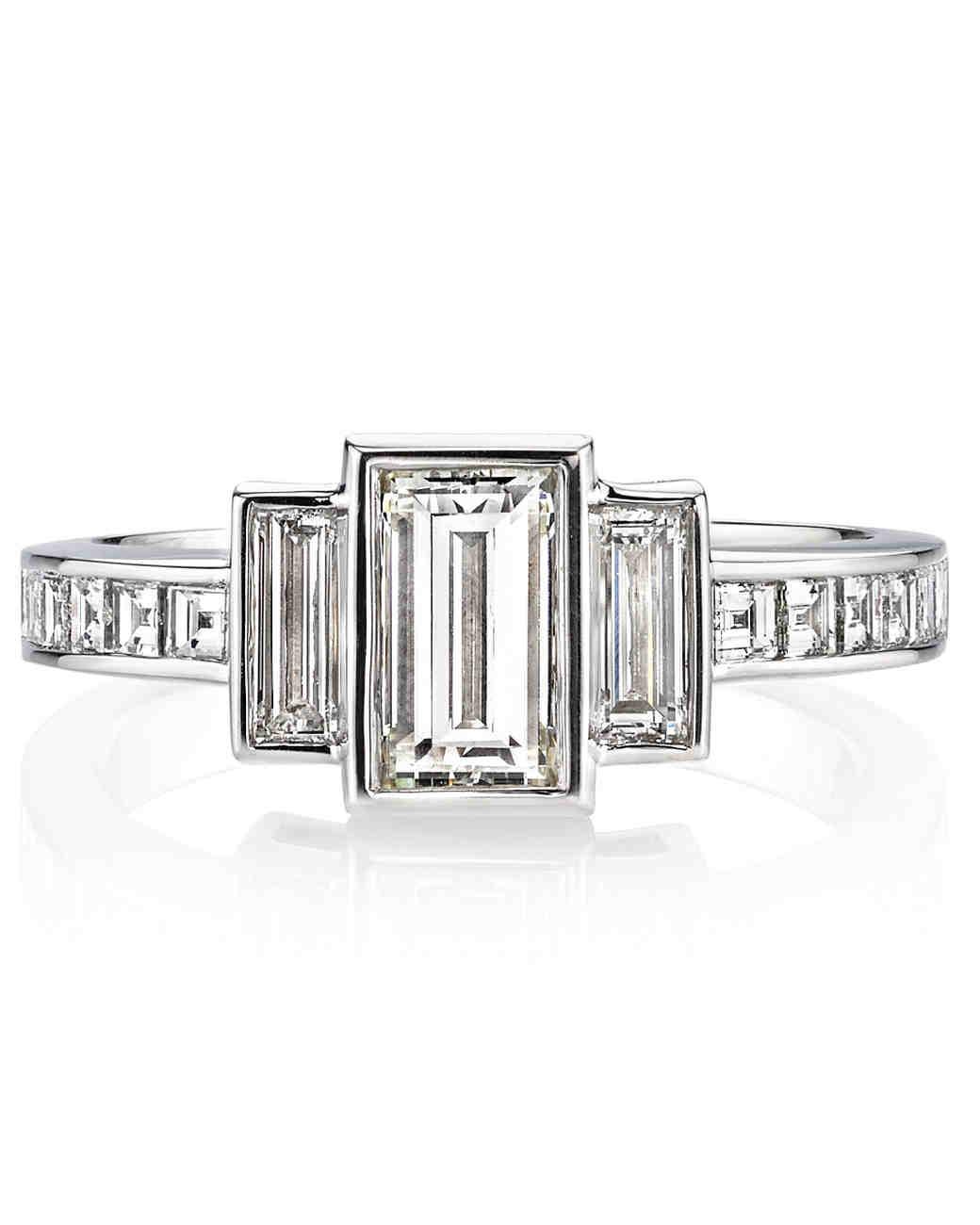 elegant emerald cut engagement rings martha stewart weddings - Emerald Cut Wedding Rings