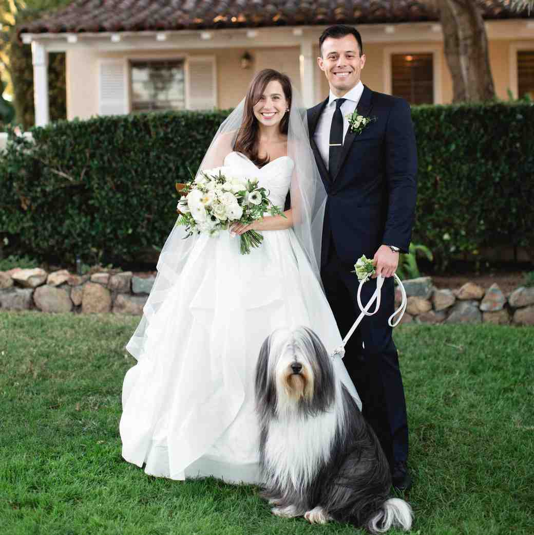 wedding couple portrait with dog