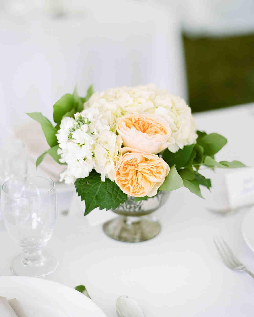 Vintage white hydrangea and garden rose centerpiece
