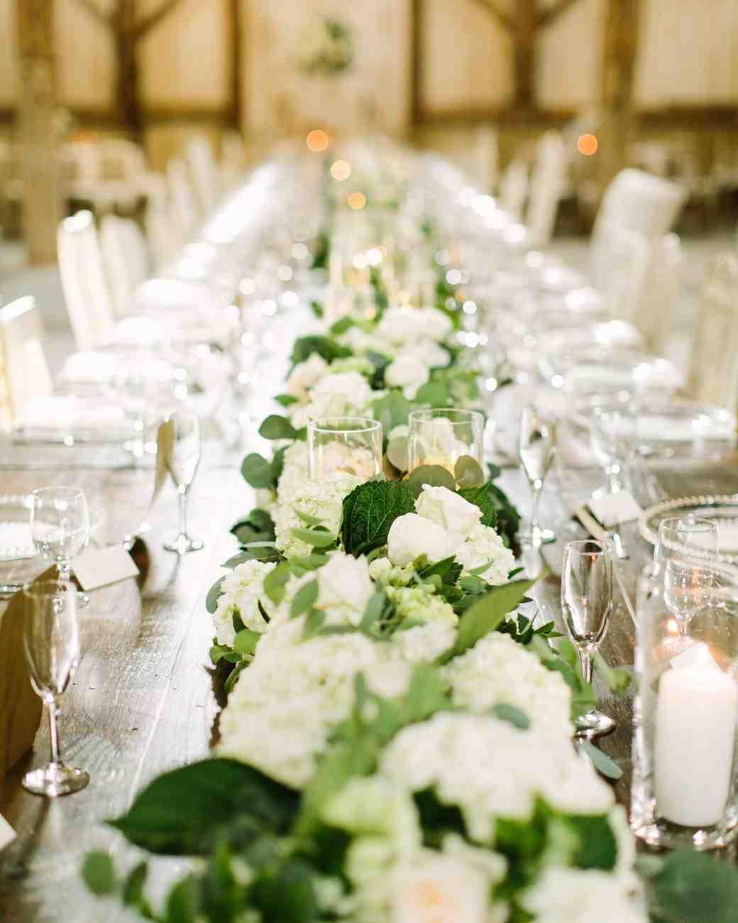 Elegant hydrangea wedding garland centerpiece