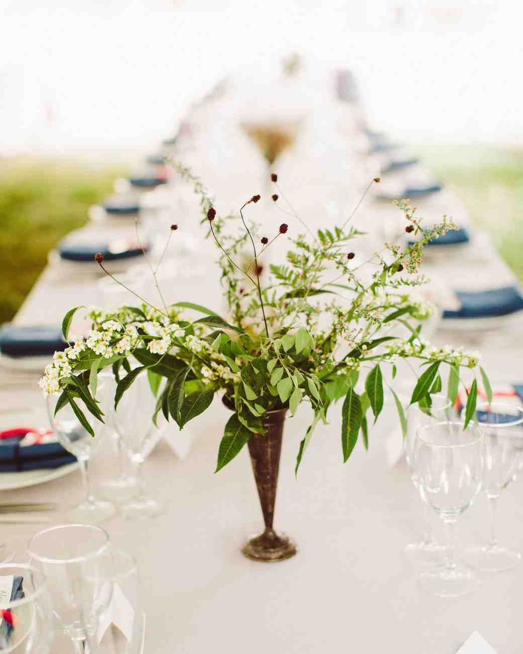 Simple White and Green Centerpiece