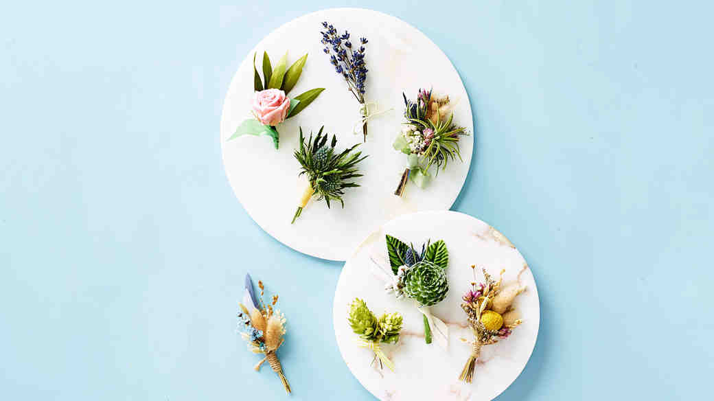 boutonnieres dried botanicals succulents