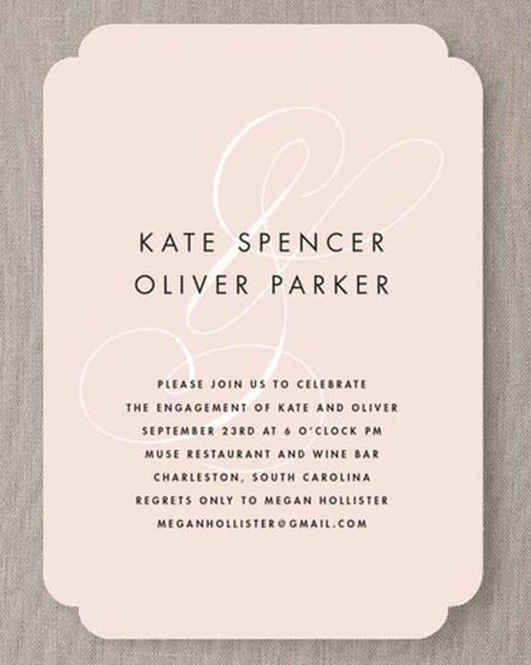 engagement party invitations  martha stewart weddings, invitation samples