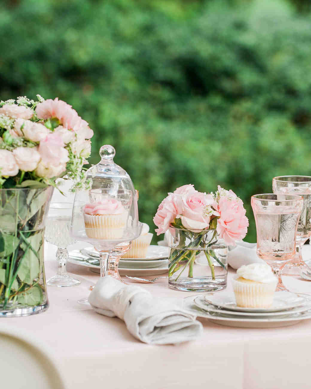 Pink Rose Centerpieces at a Spring Bridal Shower