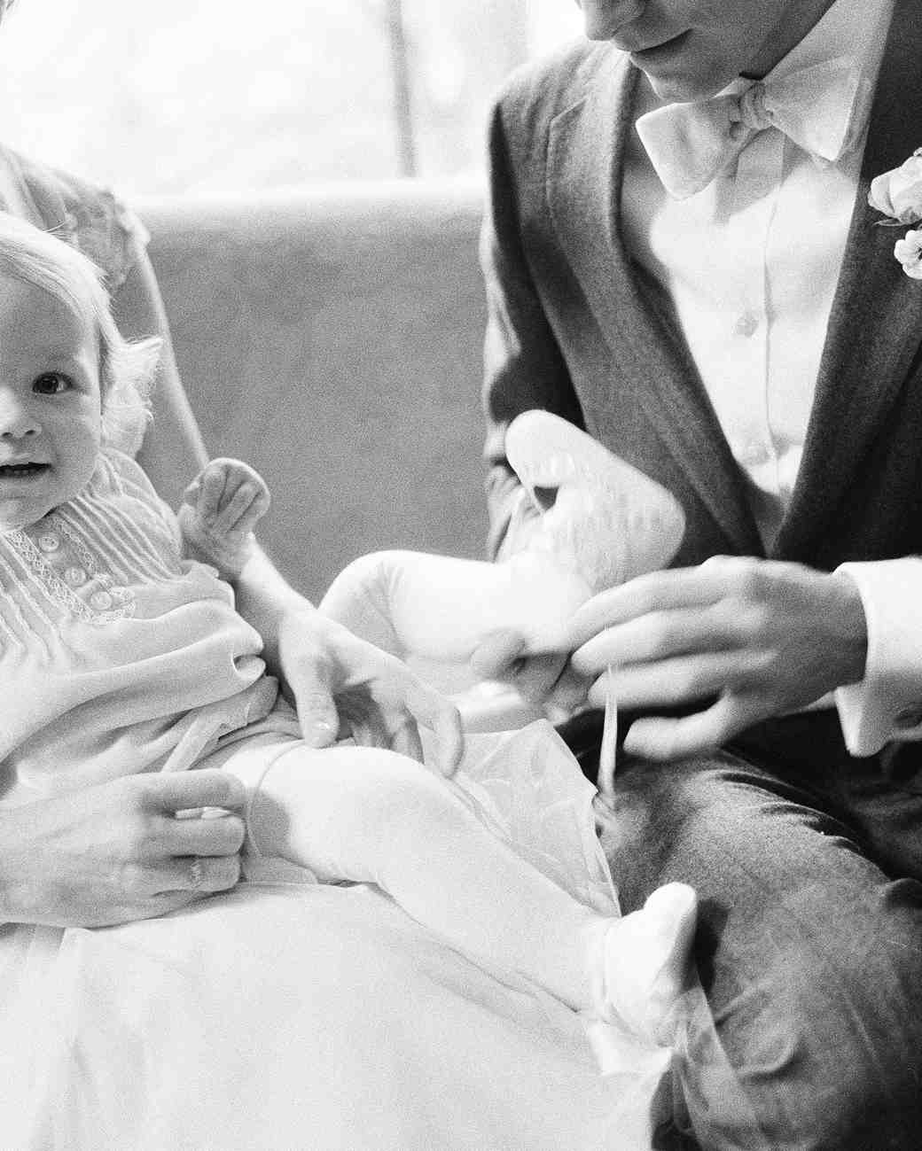 Father-Daughter Wedding Photos, Dad Dressing Baby Daughter