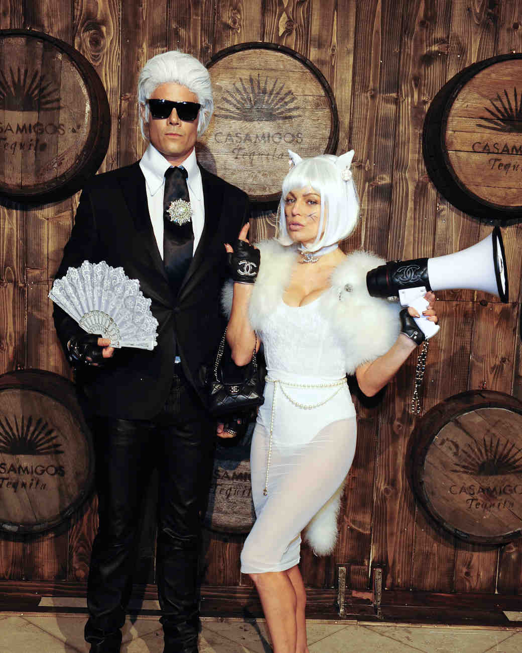Fergie and Josh Duhamel in Karl Lagerfeld and Choupette Halloween Costumes