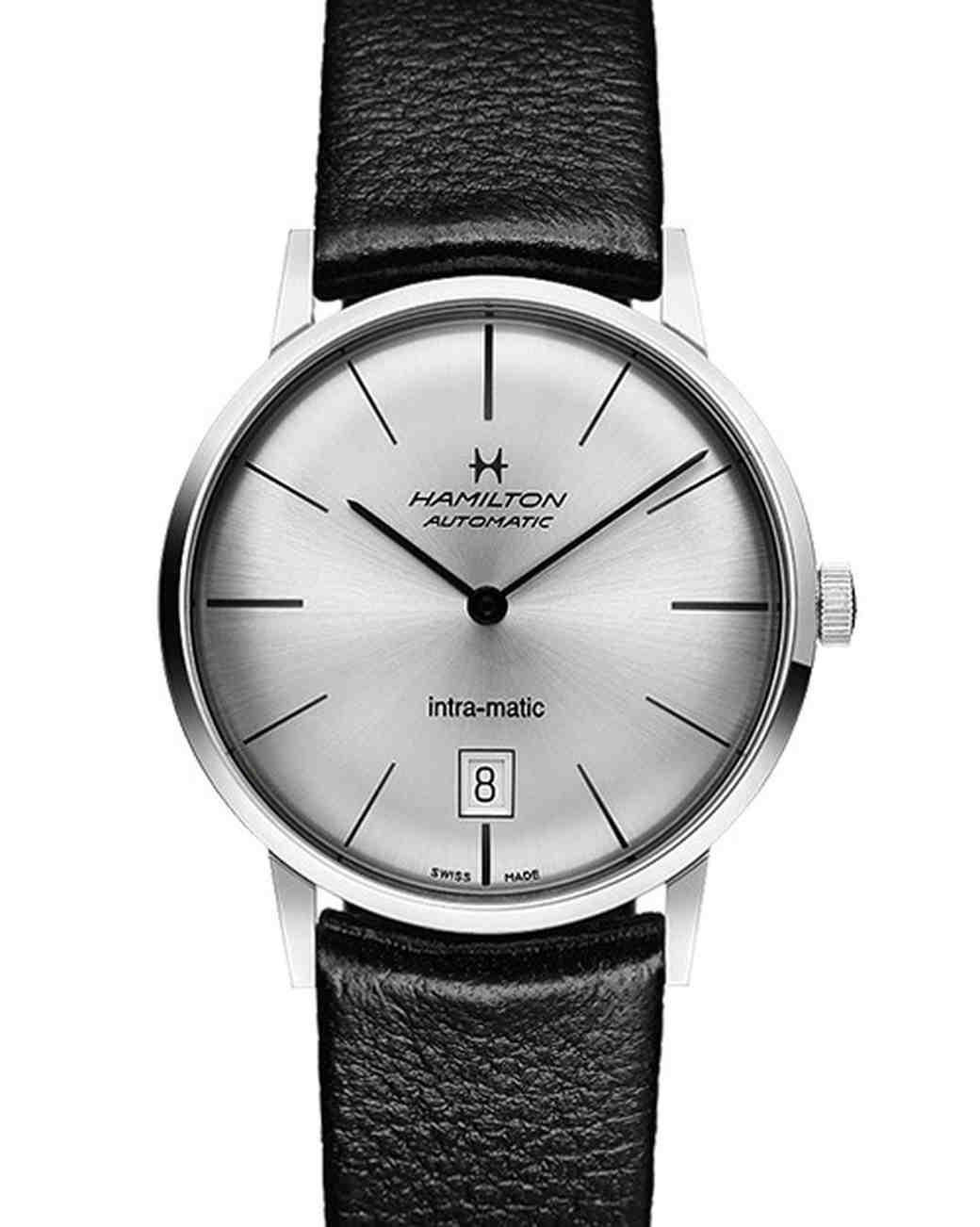 Hamilton Intra-Matic Auto Watch in Black Leather
