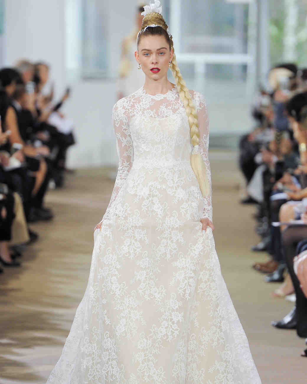ines di santo floral overlay wedding dress with long sleeves spring 2018