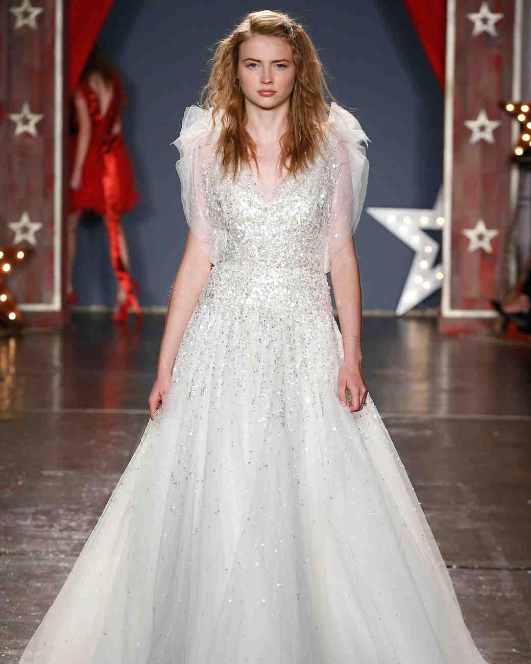 jenny packham wedding dress spring 2018 sequin ballgown tulle sleeves