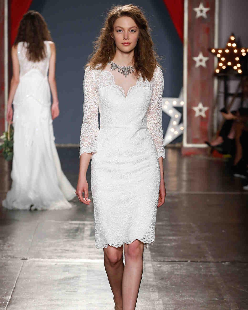 jenny packham wedding dress spring 2018 knee length three-quarter length sleeve