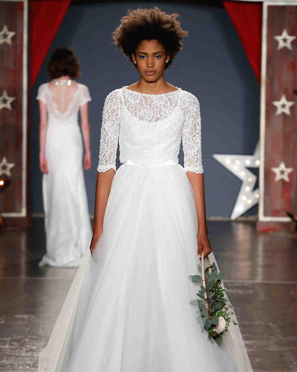jenny packham wedding dress spring 2018 three-quarter length sleeves ballgown