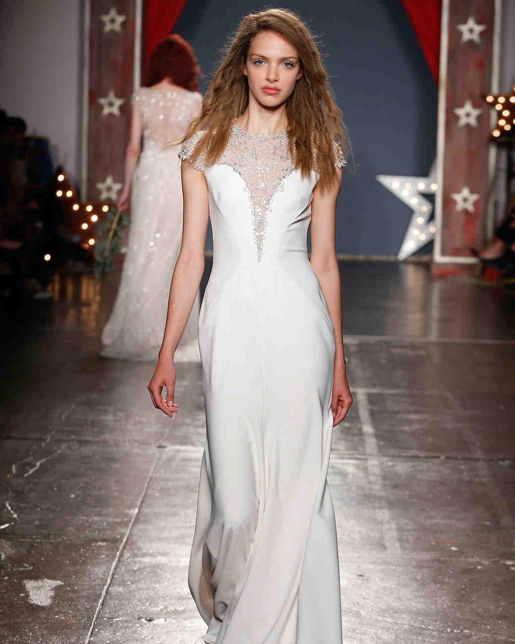 jenny packham wedding dress spring 2018 high neck embellished sheer bodice