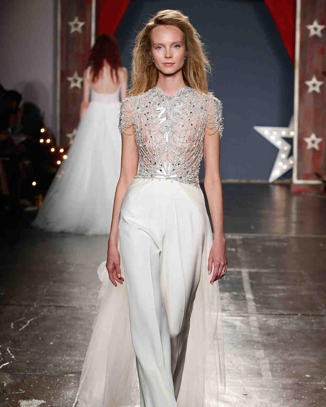 jenny packham wedding dress spring 2018 sheer embroidered bodice pants