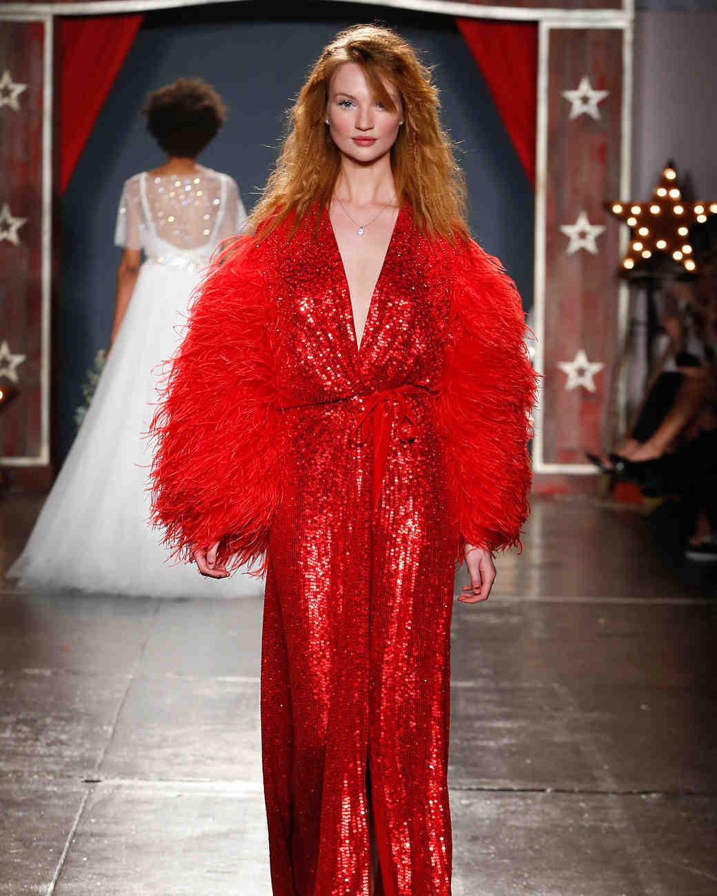 jenny packham wedding dress spring 2018 red sequin plume sleeves