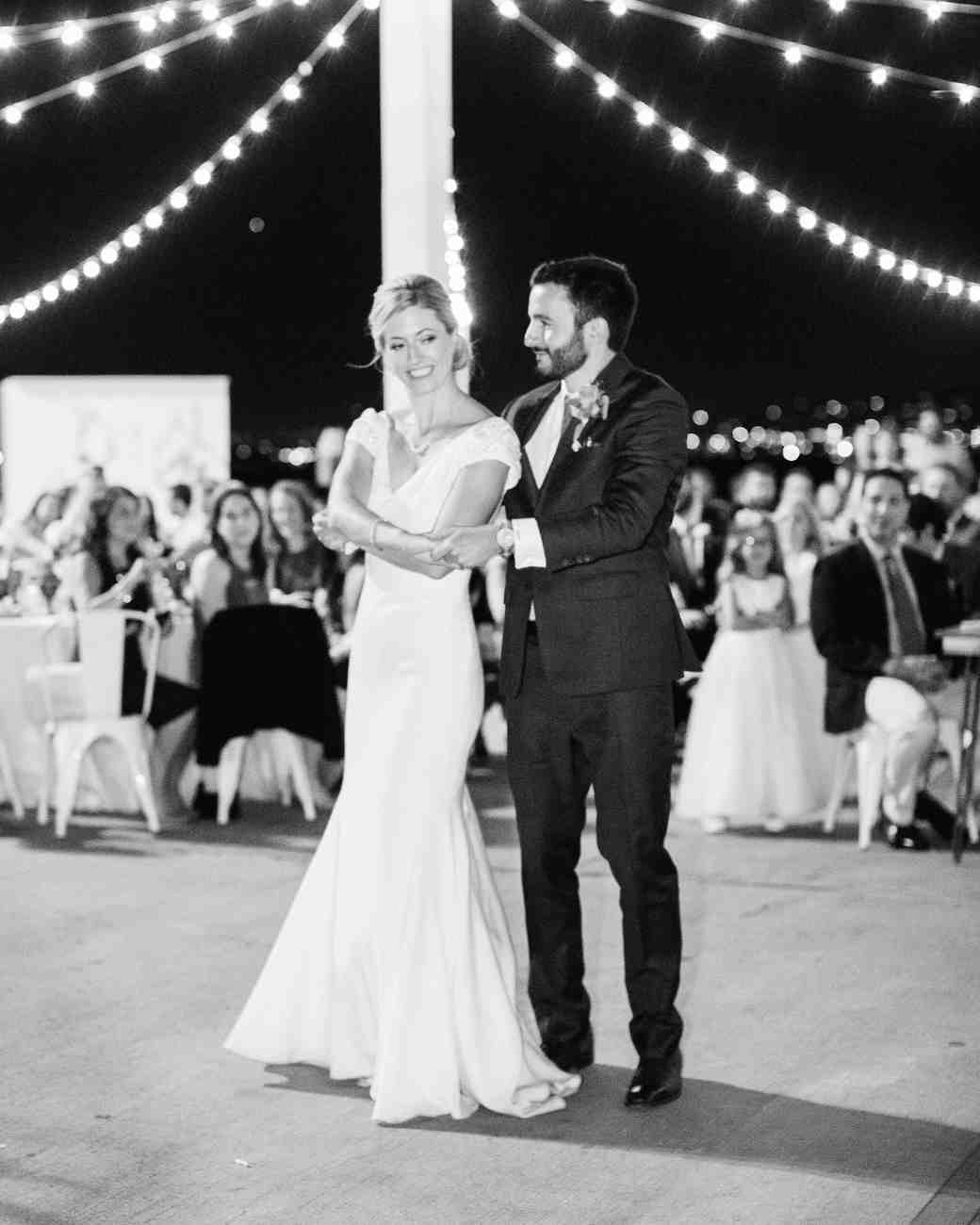 julie anthony real wedding first dance black white