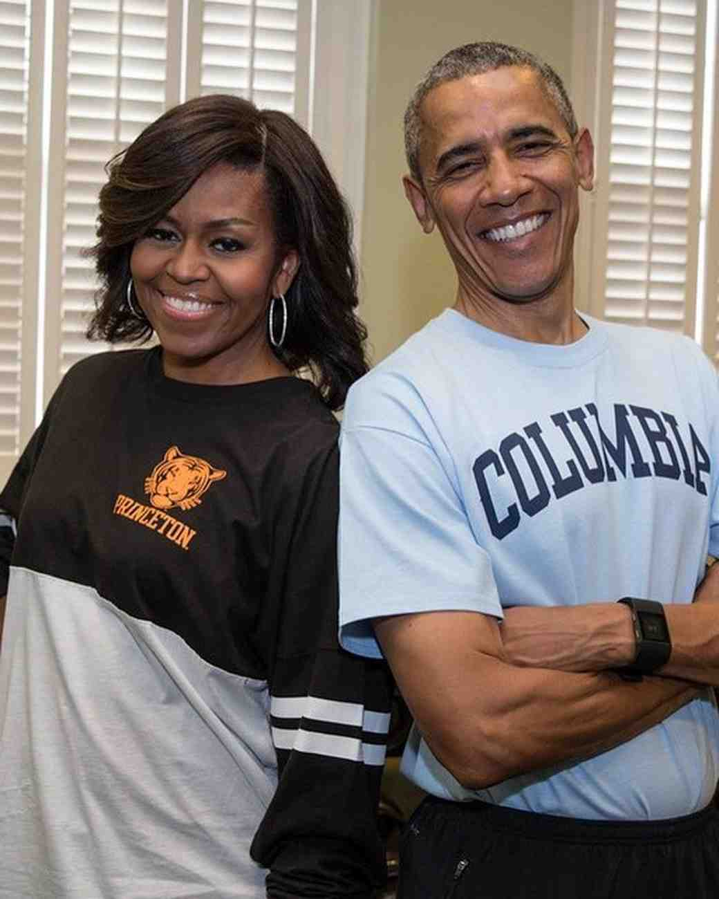 Michelle and Barack Obama in College Shirts