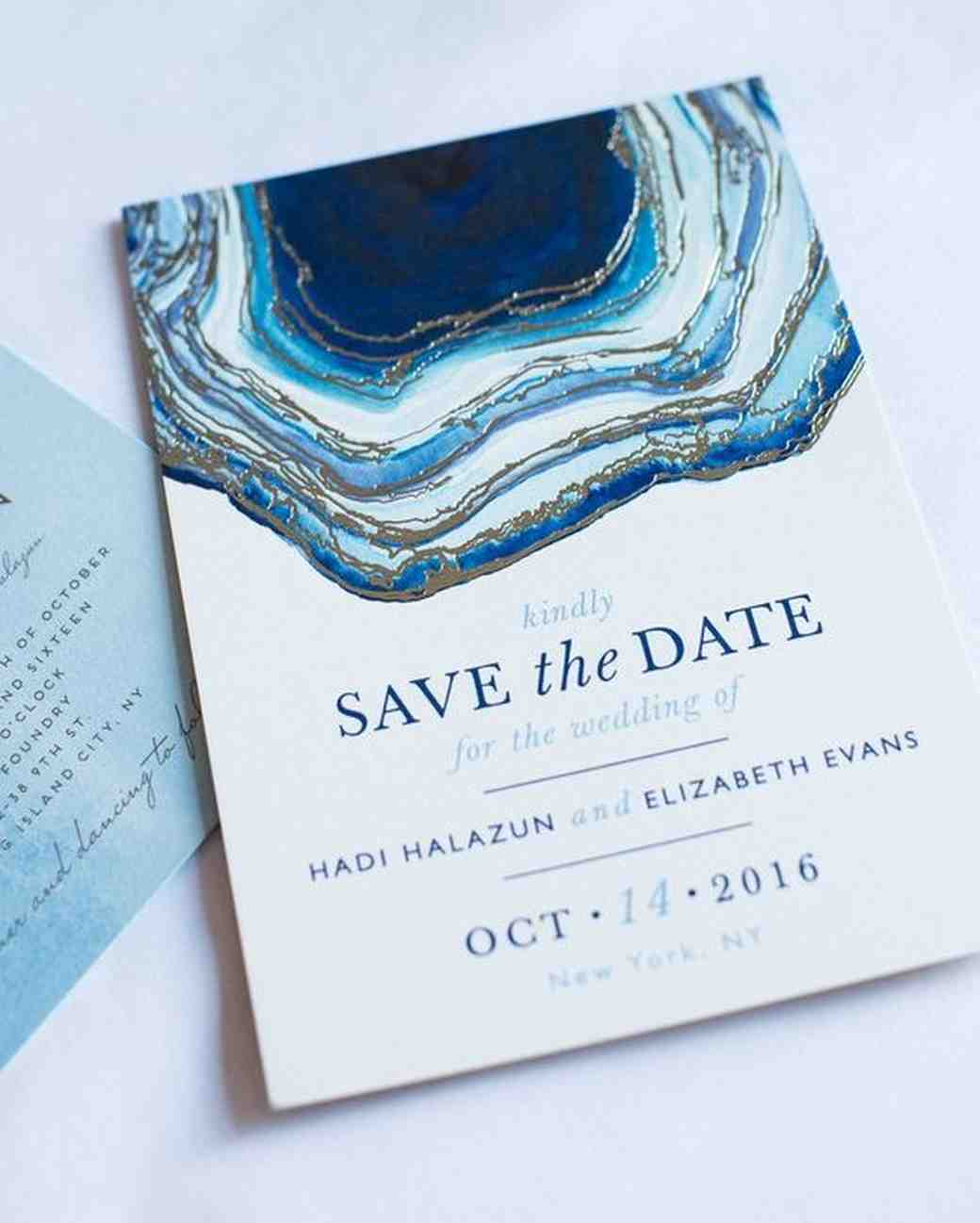 blue geode save-the-date