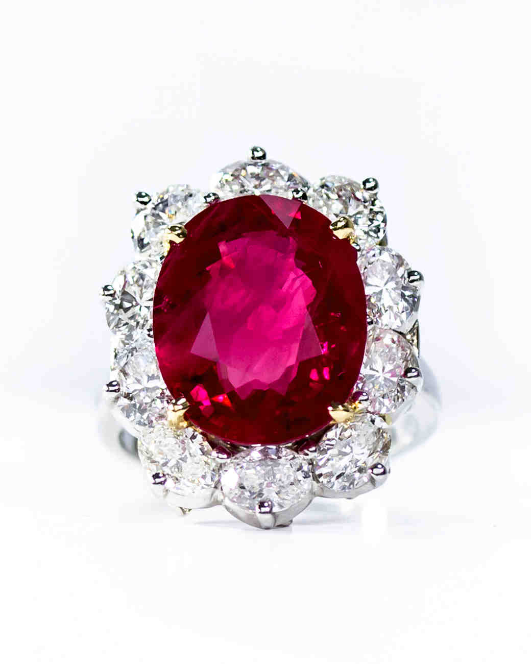 Oscar Heyman Gold Platinum Ruby Diamond Ring