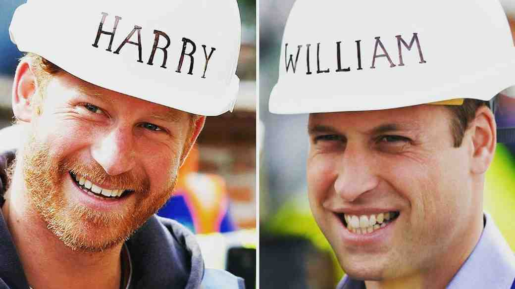 Prince William and Prince Harry Wearing Matching Hard Hats