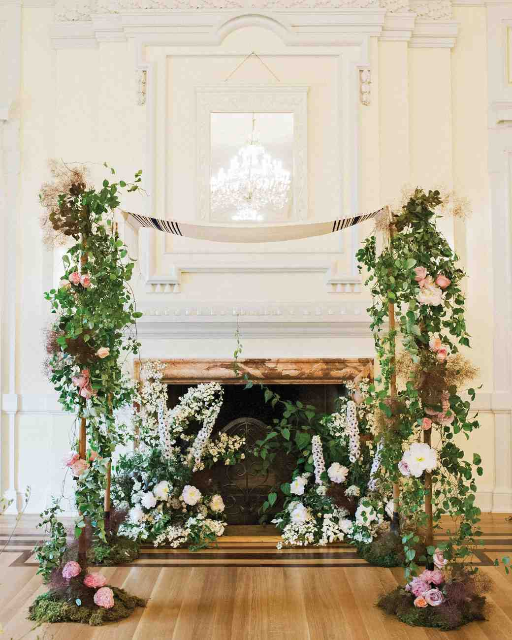 Traditional Tallit Chuppah with Garden Roses and Peonies
