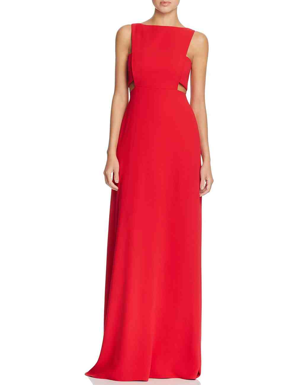 red bridesmaid dress jill stuart cutout waist
