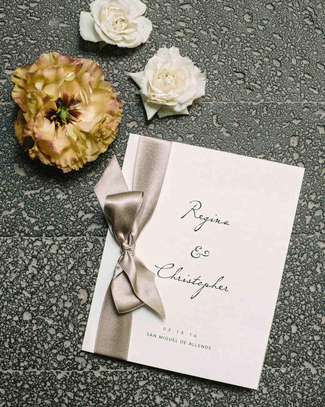 regina chris wedding program