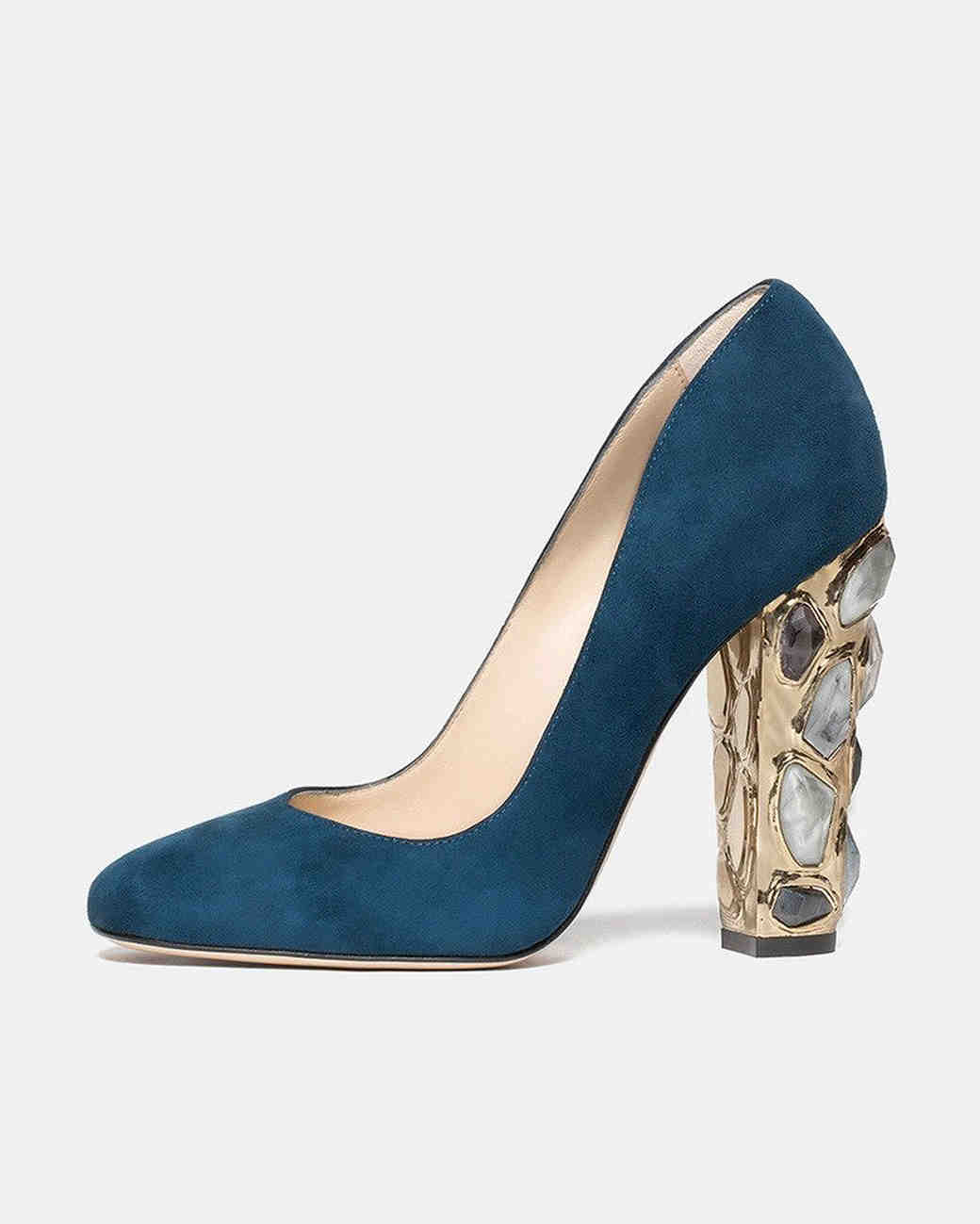Paul Andrew Jewel Heeled blue Pumps