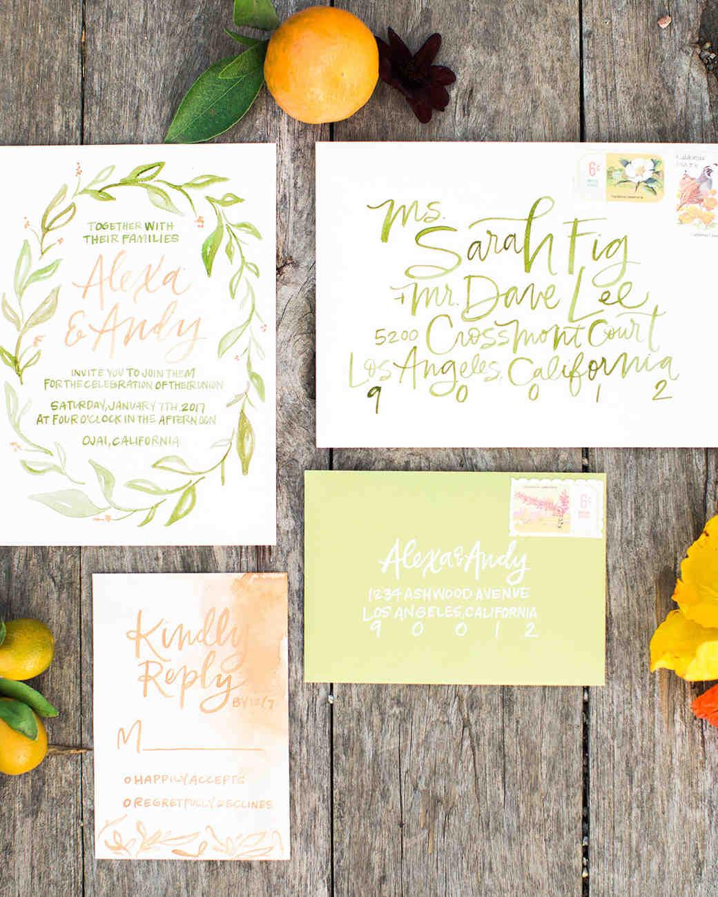 Bright Green Calligraphy Wedding Invitations For A Summer Wedding