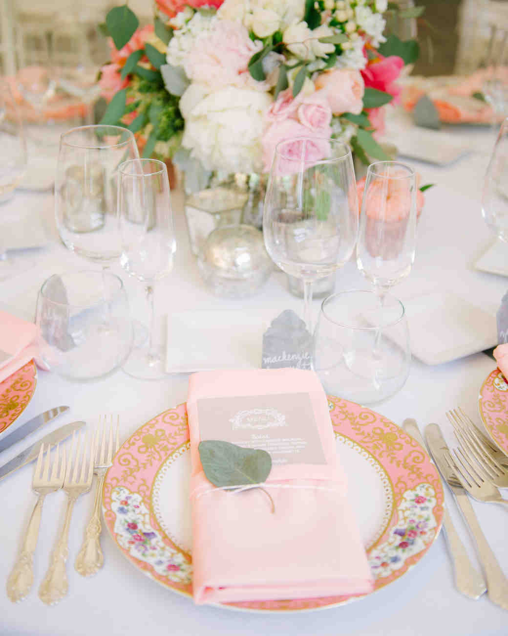 wedding plates pink floral