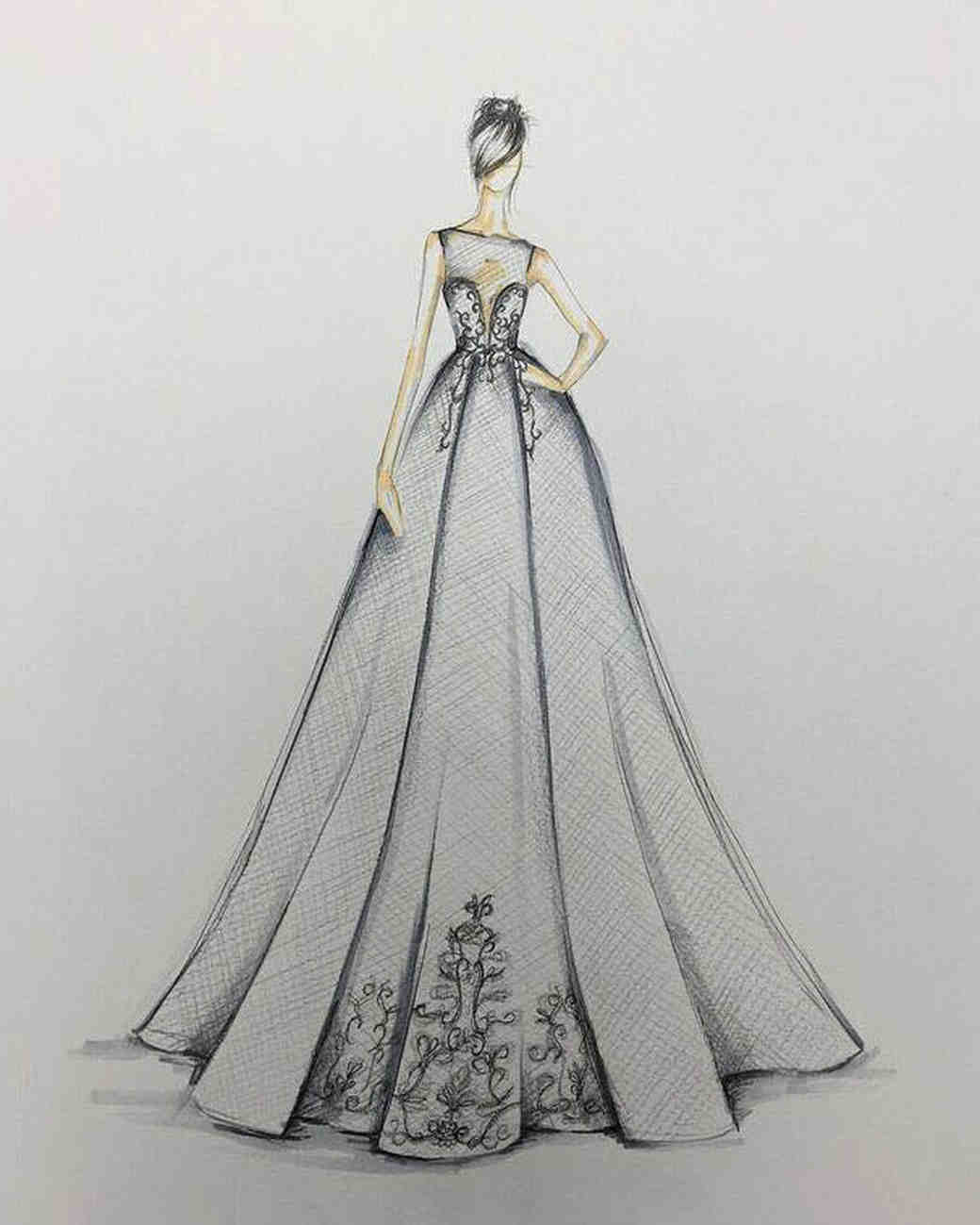 berta fall 2017 exclusive wedding dress sketch