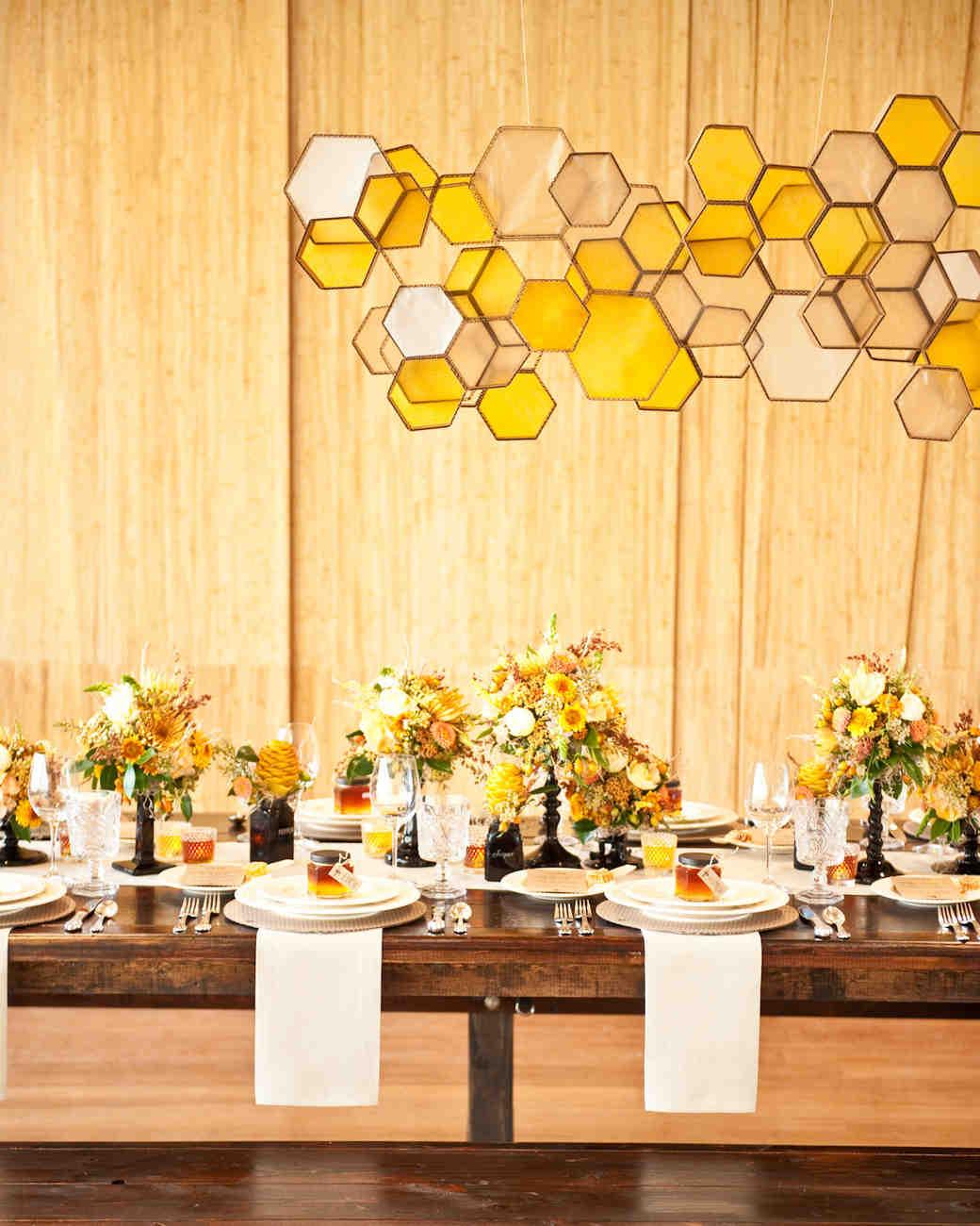 Honeycomb Wedding Inspiration, Hanging Honeycomb Light Installation