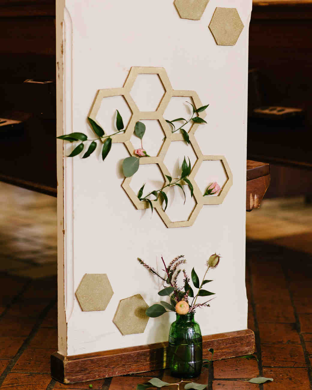 Honeycomb Wedding Inspiration, Honeycomb Pew Decorations at Ceremony