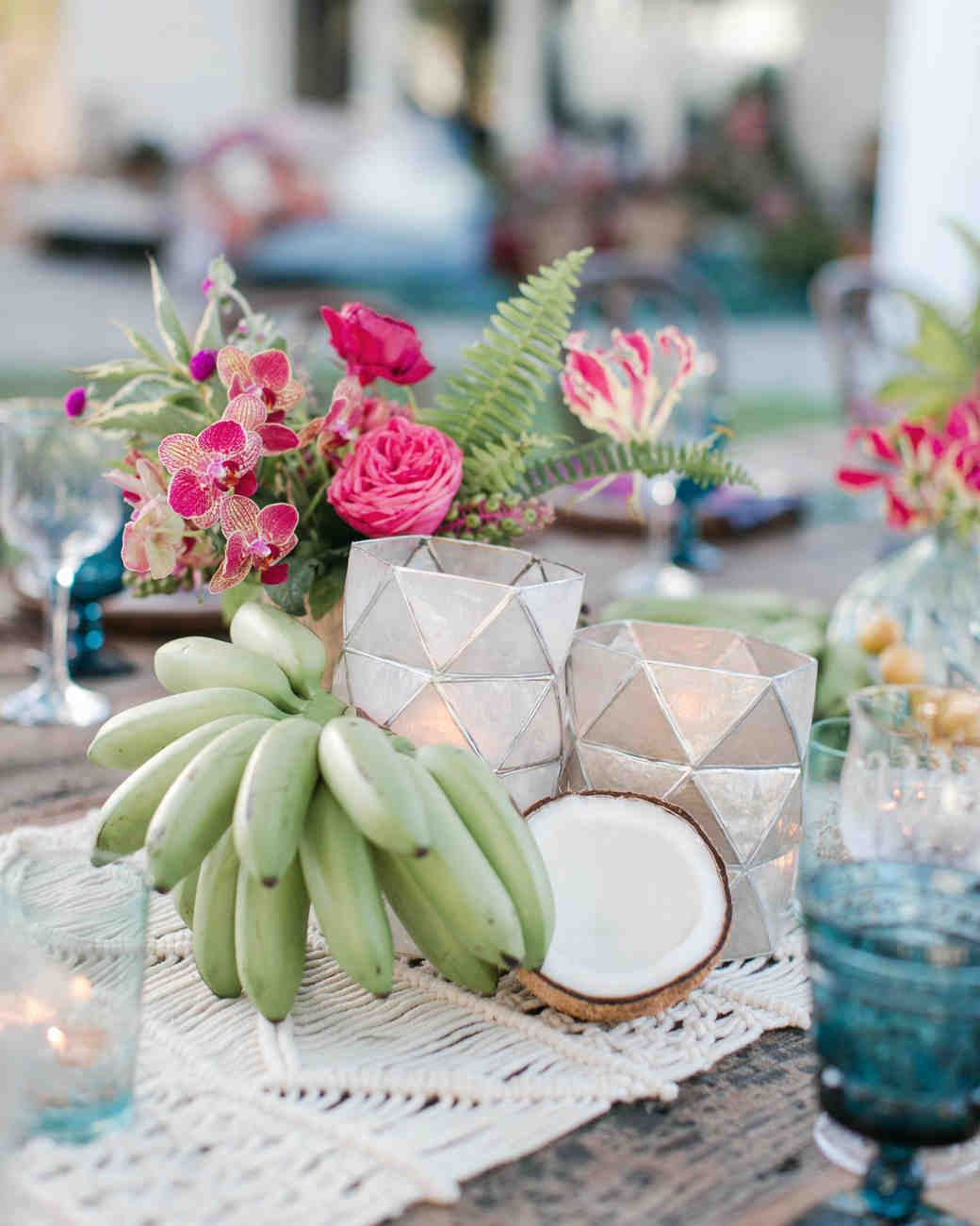 Faceted Candleholder Anniversary Dinner Centerpieces