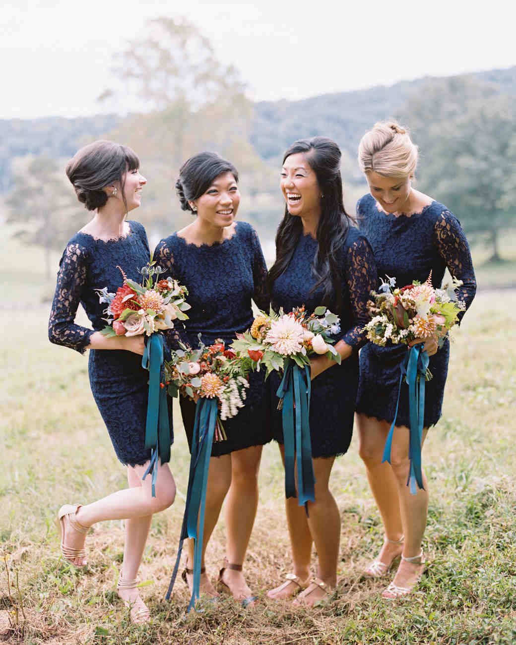 Short, Long-Sleeved Navy Lace Bridesmaids' Dresses