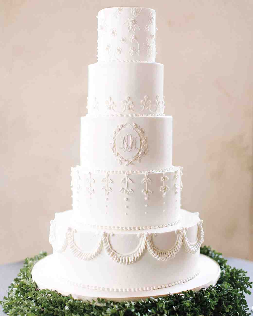 Five-Tiered Monogrammed White Wedding Cake