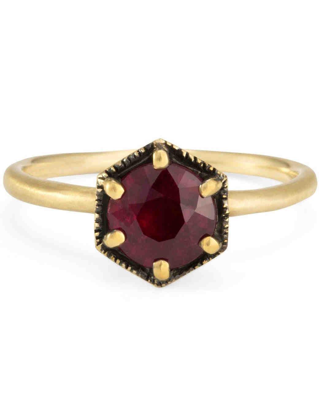 Satomi Kawakita Hexagonal Ruby Engagement Ring