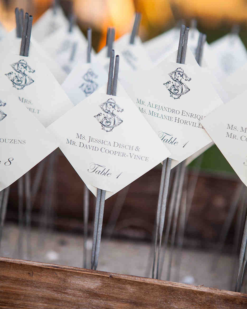 Silver Sparkler Wedding Escort Cards