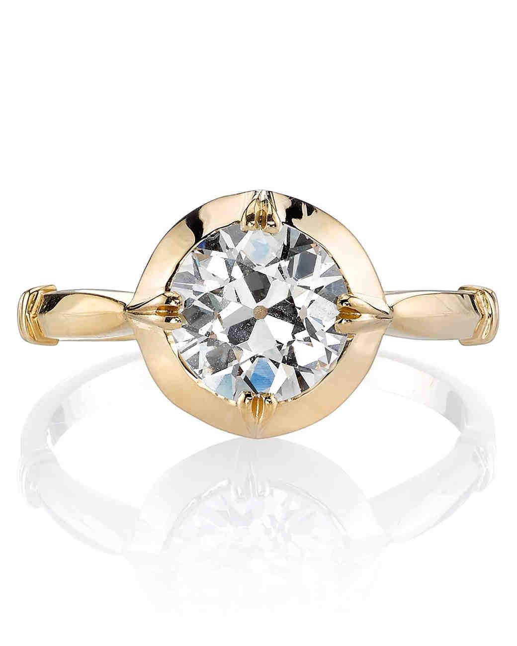 Single Stone Logan Euro-cut yellow gold engagement ring