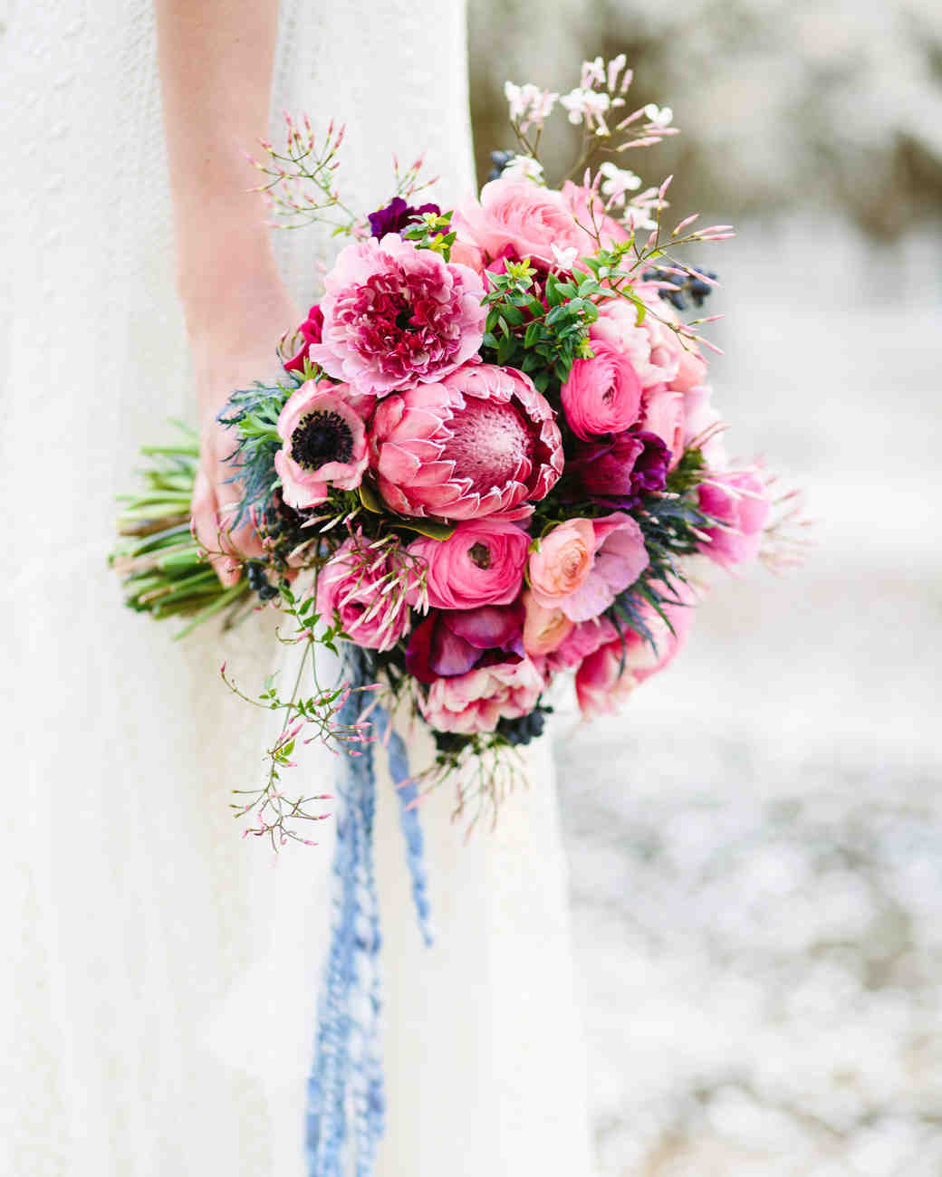 Deep Red and Pink Wedding Bouquet