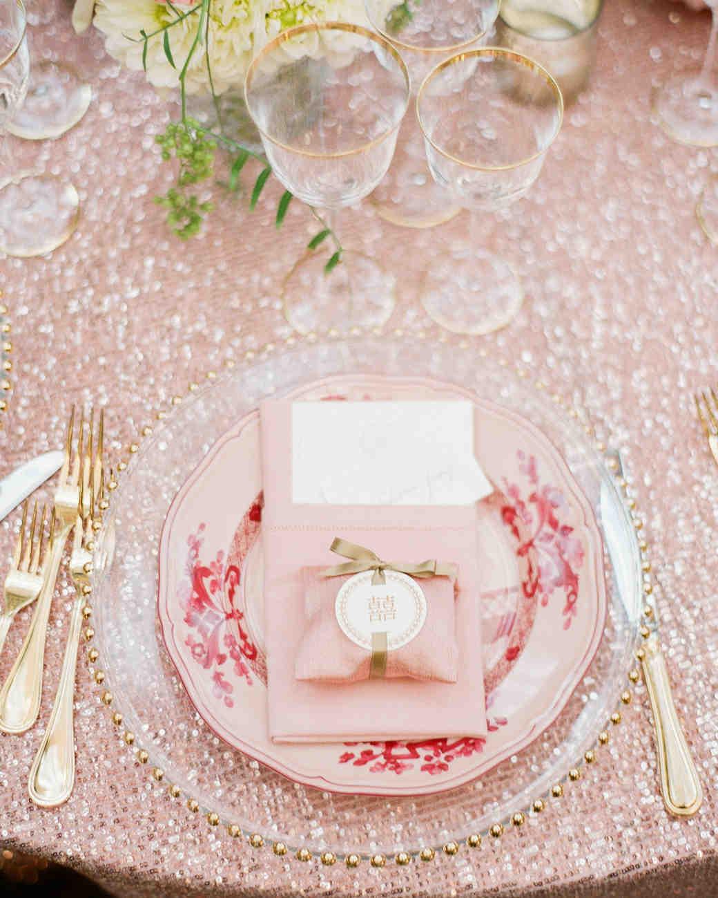 pink plates wedding