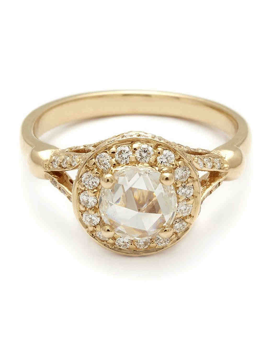 Anna Sheffield Yellow Gold Engagement Ring with Champagne Diamond