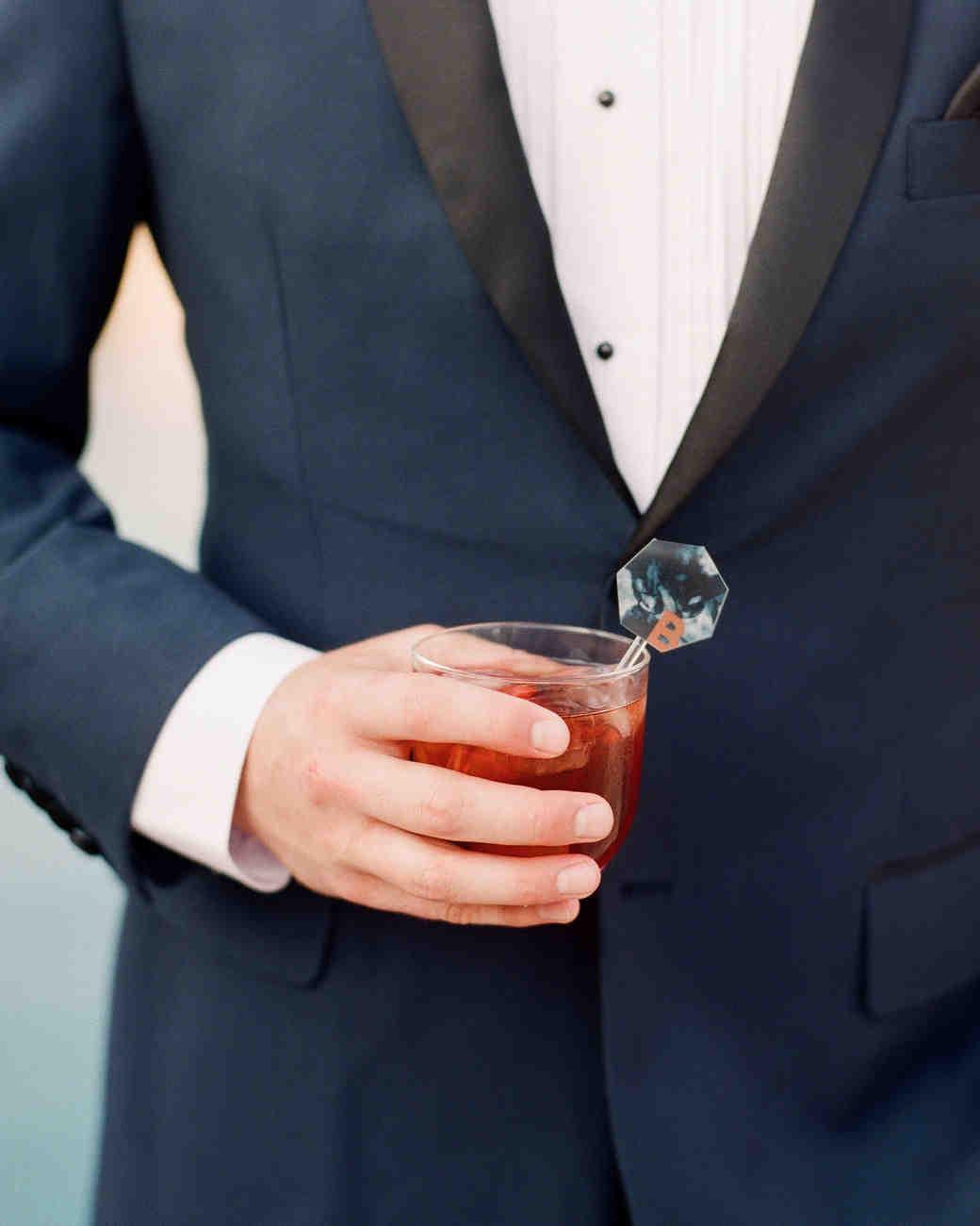 Geometric Marbled Wedding Drink Stirrer