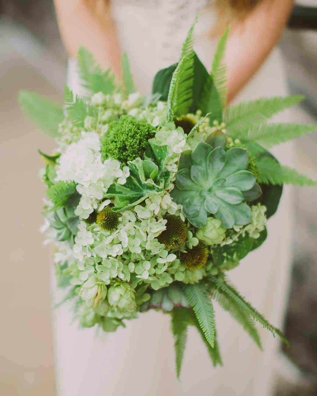 Fern Wedding Bouquet with Succulents and Hydrangeas